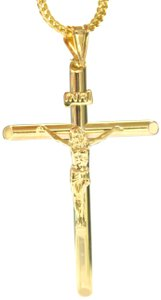 Other 10K Yellow Gold Franco Chain with Jesus Cross Pendant Charm