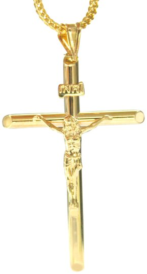 Preload https://img-static.tradesy.com/item/22351089/yellow-gold-10k-franco-chain-with-jesus-cross-pendant-charm-necklace-0-2-540-540.jpg