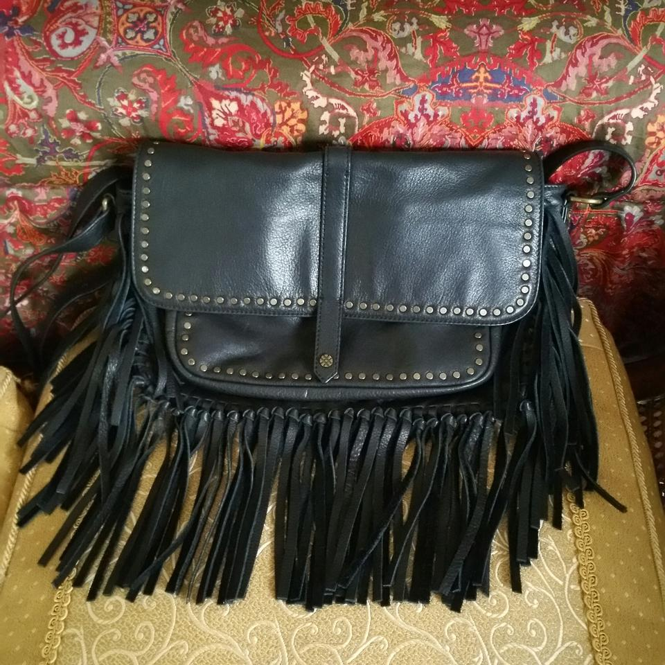 Joelle Hawkens by Treesje Fringe Black Leather Cross Body Bag - Tradesy 94c513a91a7a4