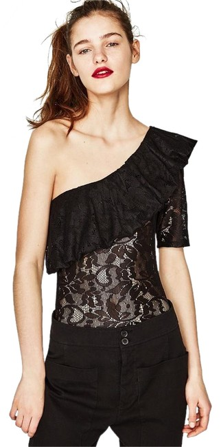 Preload https://img-static.tradesy.com/item/22351291/zara-black-floral-lace-ruffled-bodysuit-blouse-size-12-l-0-1-650-650.jpg