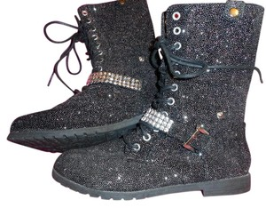 Justin Boots Tween Glitter Zip And Tie Black & Silver Boots