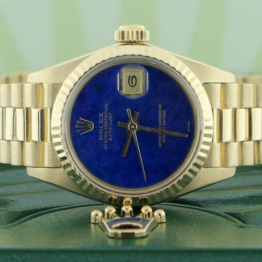 Rolex Rolex President Datejust Ladies Gold 26MM Blue Dial Fluted Bezel Watch Image 1