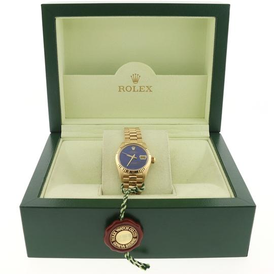 Rolex Rolex President Datejust Ladies Gold 26MM Blue Dial Fluted Bezel Watch Image 2