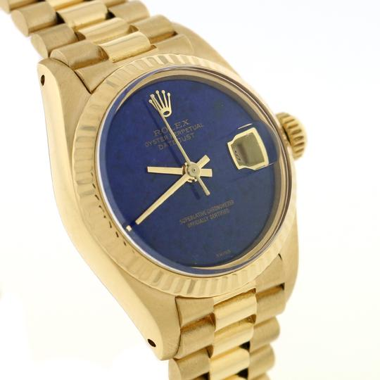 Rolex Rolex President Datejust Ladies Gold 26MM Blue Dial Fluted Bezel Watch Image 3