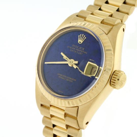 Rolex Rolex President Datejust Ladies Gold 26MM Blue Dial Fluted Bezel Watch Image 4