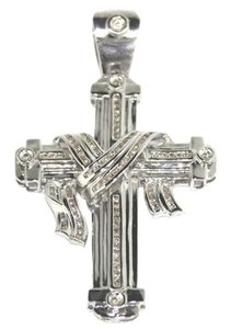 Other 14 K White Gold with Diamond Cross Pendant Charm