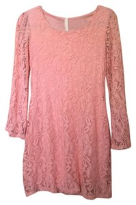 My Beloved short dress Pink Bell Sleeves Lace Longsleeve Mini Floral on Tradesy