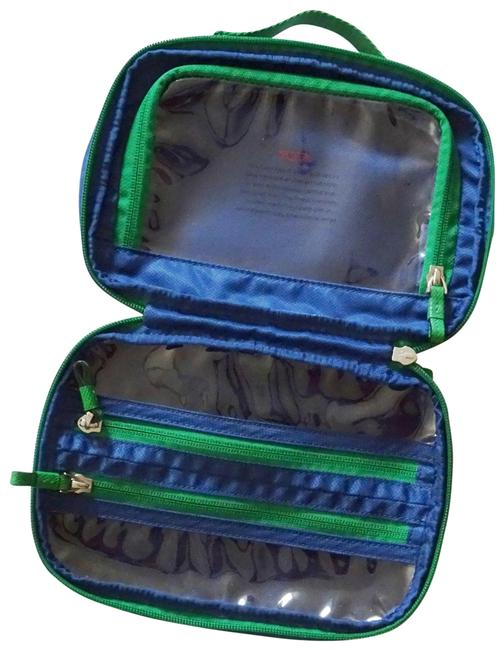 Item - Split Dopp Shave Toiletry Cosmetic Cord Storage Blue with Green Trim Nylon Weekend/Travel Bag