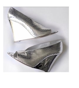 Burberry Leather Silver Wedges