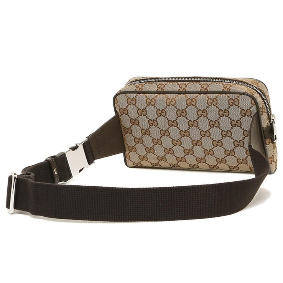 3f3193d0afb Gucci Men s Gg Guccissima Small Gg Waist Belt Fanny Pack Beige Brown ...