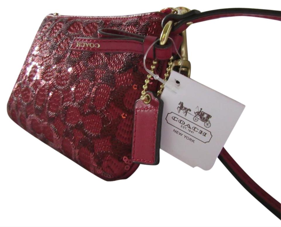 ed2d726d7bc0 Coach Signature C Red Fabric Sequin Leather Wristlet - Tradesy