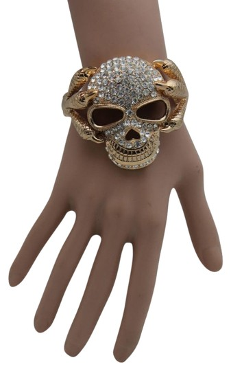 Alwaystyle4you Women Silver Gold Metal Cuff Fashion Bracelet Skeleton Skull Claws Image 0