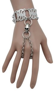 Alwaystyle4you New Women Bracelet Silver Metal Hand Chain Skeleton Skull Slave Ring