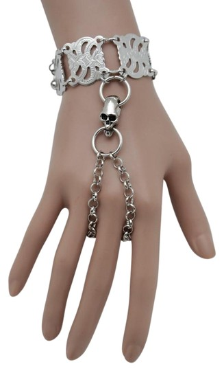 Alwaystyle4you New Women Bracelet Silver Metal Hand Chain Skeleton Skull Slave Ring Image 0