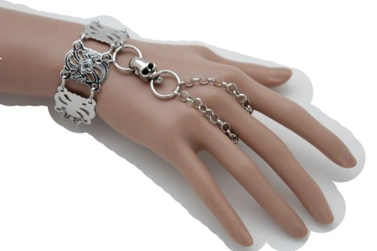 Alwaystyle4you New Women Bracelet Silver Metal Hand Chain Skeleton Skull Slave Ring Image 3