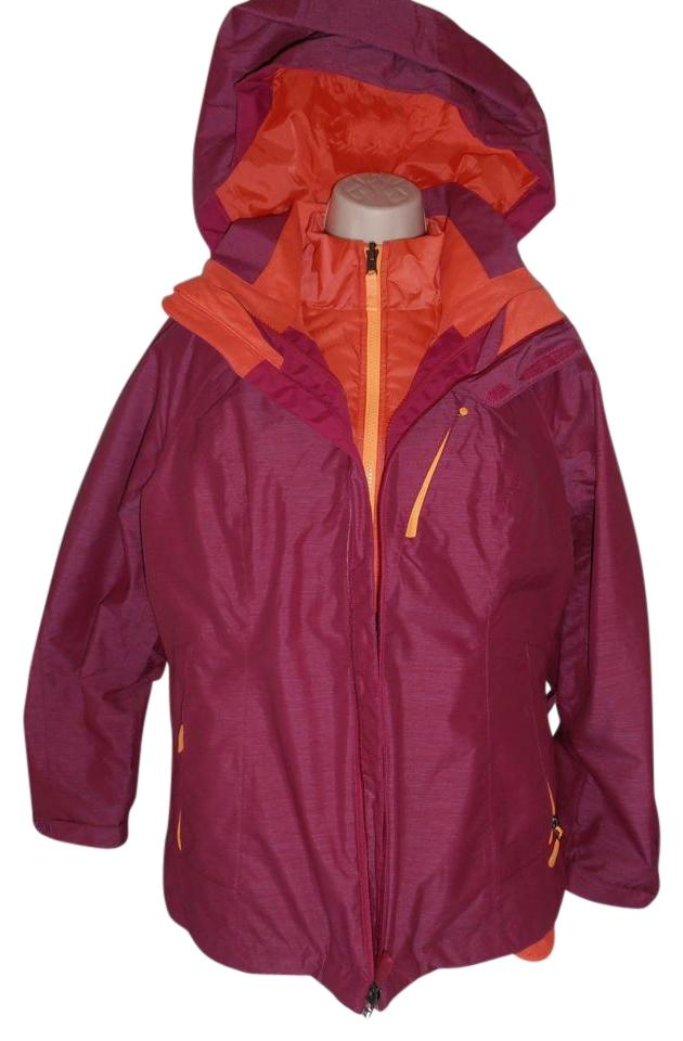 05cdac6ad81f The North Face Down Hooded 3 In 1 Thermoball purple orange Jacket Image 0  ...