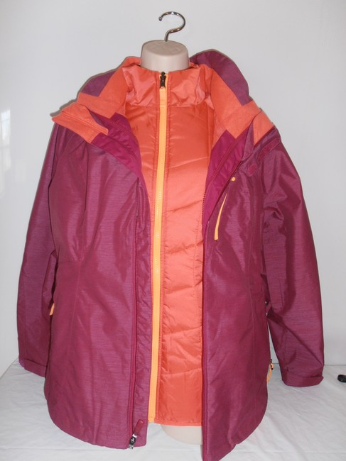 The North Face Down Hooded 3 In 1 Thermoball purple/orange Jacket Image 1
