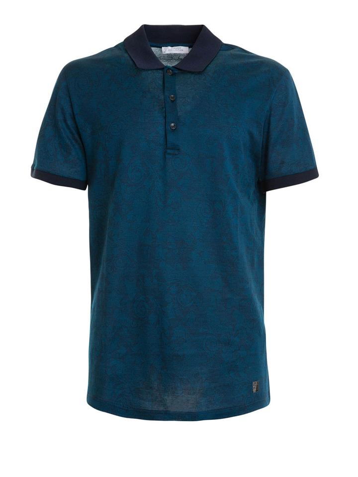 bf853dc5 Versace Collection Blue Tonal Baroque Print Polo Men's Tee Shirt Size OS  (one size)