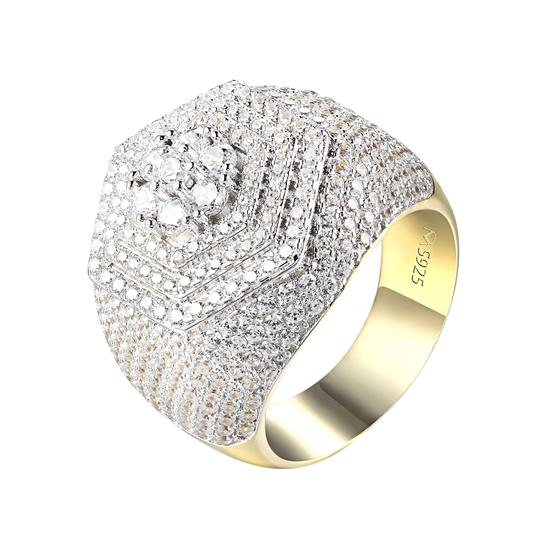 Master Of Bling Men Simulated Diamond Ring Sterling Silver Hip Hop Style Cluster Iced Image 1
