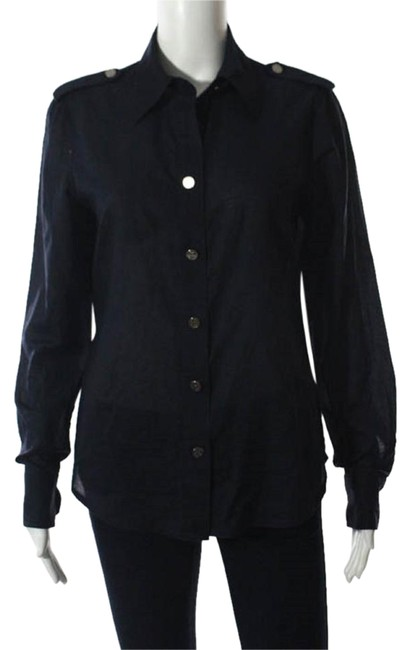 Preload https://img-static.tradesy.com/item/22352402/tory-burch-black-cotton-button-down-long-sleeve-crew-neck-blouse-size-8-m-0-1-650-650.jpg