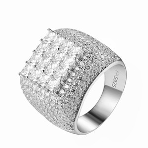 Master Of Bling Sterling Silver Mens Ring Princess Cut Iced Out 20mm Wedding Ring