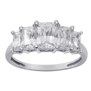 Avital & Co Jewelry 3.00 Carat Five Stones Radiant Cut Cz Ring 14k White Gold