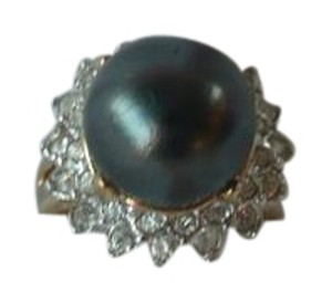 Other 18K GF size 7 RING Clear Rhinestones Black Pearl