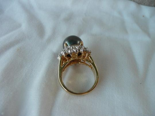 Other 18K GF size 7 RING Clear Rhinestones Black Pearl Image 2