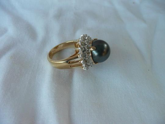 Other 18K GF size 7 RING Clear Rhinestones Black Pearl Image 3