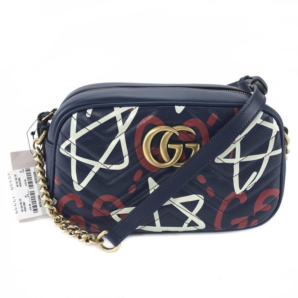 032f7f928 Gucci Marmont 447632 Ghost Blue Leather Cross Body Bag - Tradesy