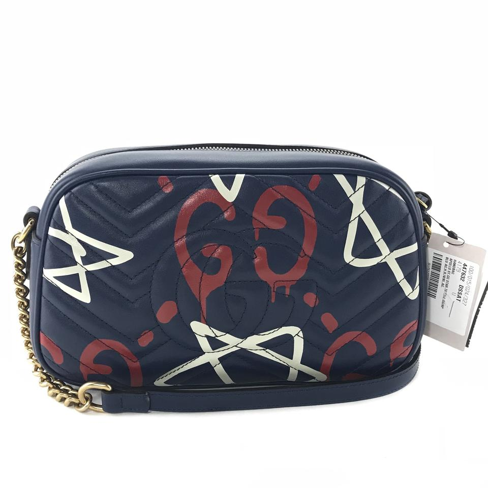 d264a22a3 Gucci 447632 Marmont Ghost Leather Cross Body Bag Image 11. 123456789101112