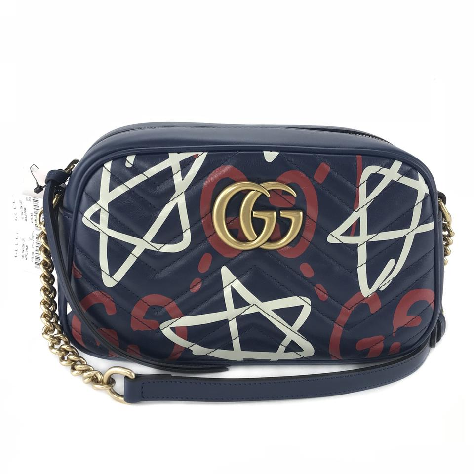 a5ee608a6d1 Gucci Marmont 447632 Ghost Blue Leather Cross Body Bag - Tradesy