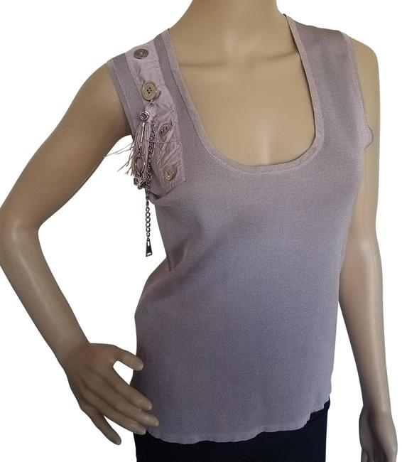 Item - Grey Pink Gold Beige Mauve Gold-tone Lv Charms Silk Sleeveless Knit Blouse Size 8 (M)