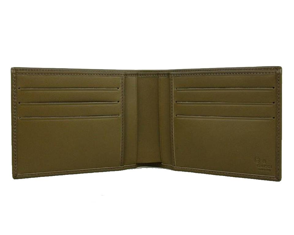 51272637bd68 Gucci NEW Gucci Men's Classic Leather Bi-fold Wallet Light Olive 278596  Image 5. 123456