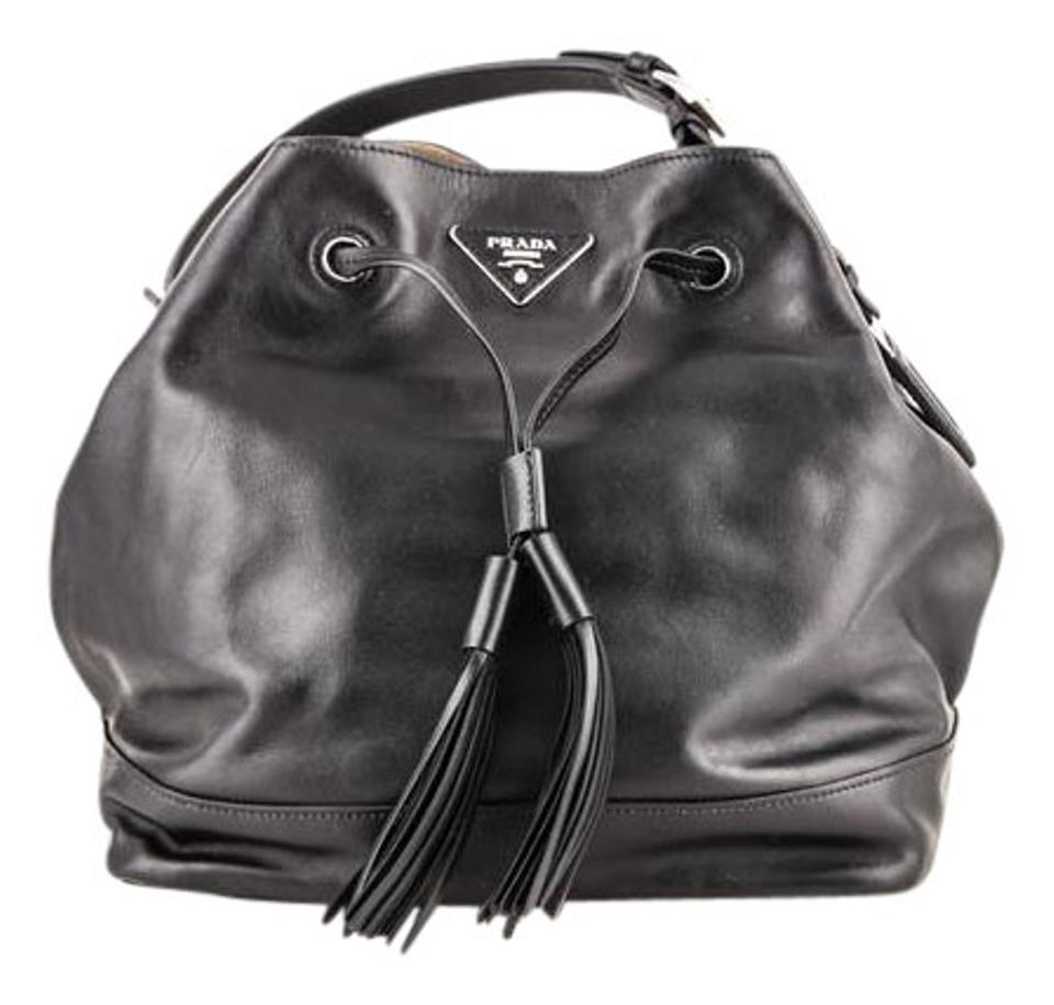 fbfe1f2f4626 Prada   Soft Calf Bucket Black Shoulder Bag - Tradesy