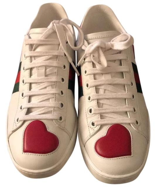 Item - White with Hearts Lux Hbdg/ Acc - Sneakers Size EU 38 (Approx. US 8) Narrow (Aa, N)