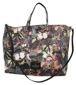 Valentino Rockstud Cambutterfly Tote in Multi Printed Leather