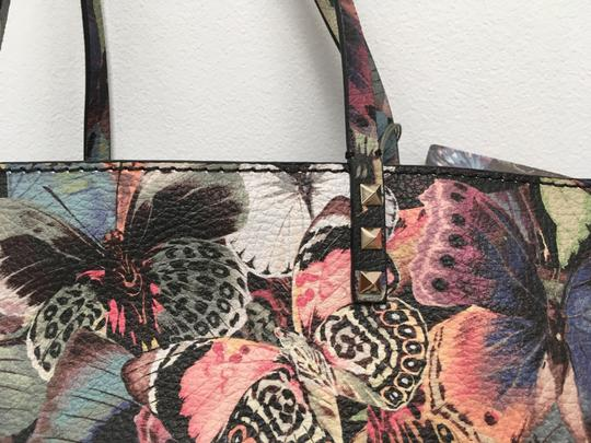 Valentino Rockstud Cambutterfly Tote in Multi Printed Leather Image 5