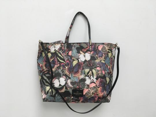 Valentino Rockstud Cambutterfly Tote in Multi Printed Leather Image 9