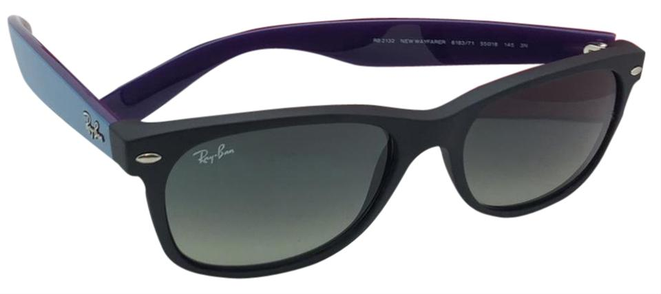 635fd49cf58 Ray-Ban New Wayfarer Rb 2132 6183 71 55-18 Black Blue   Purple W ...