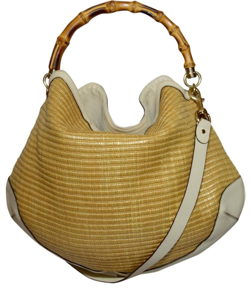 Gucci Bamboo Handle Ivory and Straw Leather Hobo Bag - Tradesy 593c109a57196