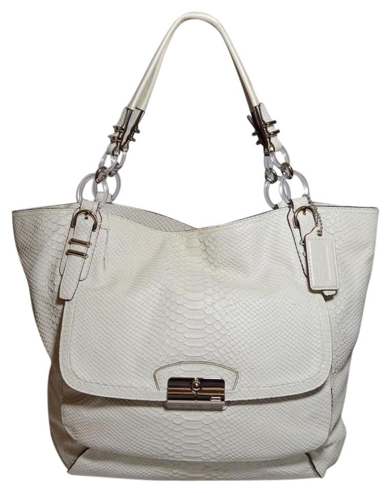 5aaeea9a9c Coach Python Embossed Leather Kristin Pinnacle Dust Tote in White Image 0  ...