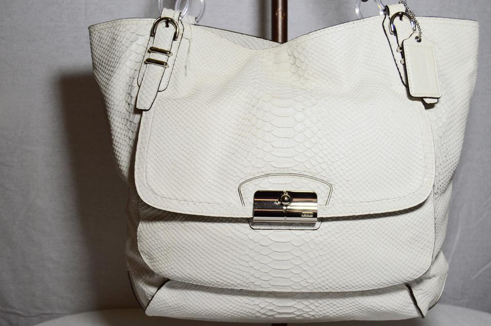 aca36778fe Coach Python Embossed Leather Kristin Pinnacle Dust Tote in White Image 10.  1234567891011