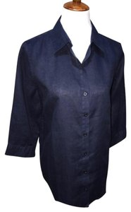 Chico's Button Down Shirt navy blue