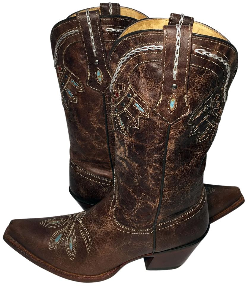 4717568b537 Tony Lama Brown Vf6015 Guadalupe Leather Western Women's Boots/Booties Size  US 8 Regular (M, B) 21% off retail