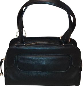 Ellen Tracy Leather Satchel in Black with teal green stitching