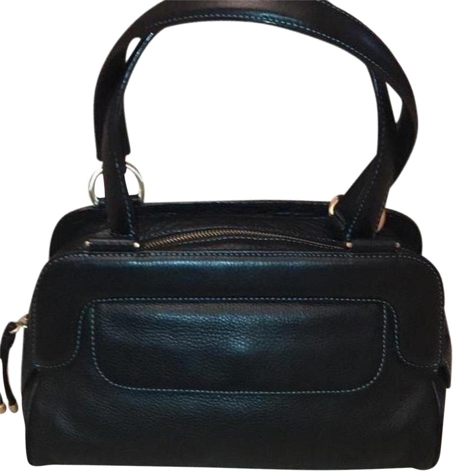 Ellen Tracy Black with Teal Green Stitching Leather Satchel - Tradesy ee5809ad253e4