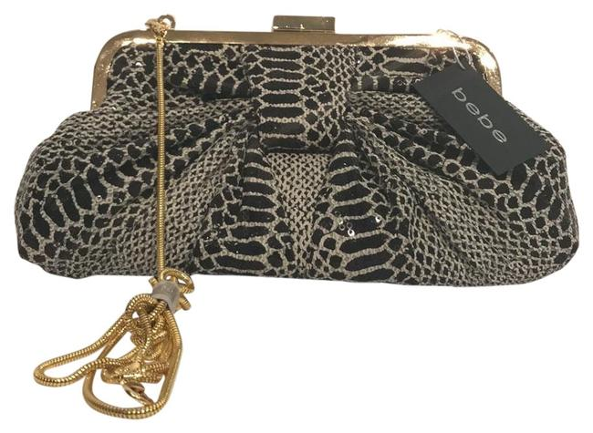 Item - Sequined Exotic Animal Print Gold Black & Cream Polyester Clutch