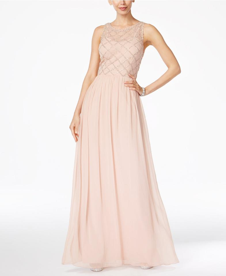 99420521fe4 Adrianna Papell Blush Pink Beaded A-line Gown In Formal Bridesmaid Mob Dress