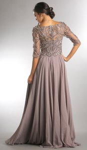 Clay Gray Chiffon Stones Paisley Beaded Open V Neckline Mother Of The Bride Long Gown Formal Bridesmaid/Mob Dress Size 8 (M)